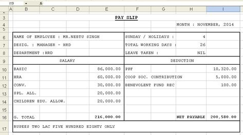 Salary Slip Format In Excel With Formula Rbentrancement